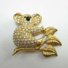 Napier Bear Brooch Pin Signed Koala Rhinestones Gold Leaves