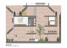 Mặt cắt của Lee and Tea House. Các khoảng đặc được hạn chế tối đa. Thông tầng được bố trí dọc khắp chiều dài nhà, giúp công trình được thông thoáng, giảm bớt cảm giác nặng nề do vật liệu thô mộc mang lại.