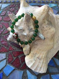 Dark Green Aventurine 8mm Bracelet with Vintage by ParvatiBeads