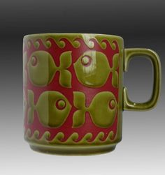 Vintage Hornsea Pottery John Clappison design Fish pattern Mug