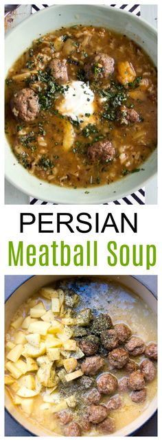 A warming hearty soup with brown rice, meatballs, apricots and fresh herbs, topped with creamy yogurt.