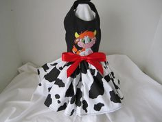Dog Dress XS  Cow dress with embroidery    by NinasCoutureCloset, $28.00