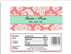 Damask Wedding Candy Bar Wrapper coral and mint 648