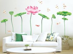 New Design DIY Vinyl Lotus Wall Sticker Art Flower Removable Wall Decals