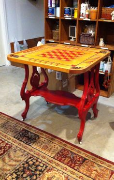 Old table base with game board top. Talula's, Springfield, Mo
