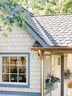 Copper gutters and downspout. Now that's a touch of elegance for your house! From Better Homes and Gardens. Copper Gutters, House Cleaning Tips, Cleaning Hacks, Roof Cleaning, Cleaning Equipment, Gutter Cleaning, Cleaning Services, Outdoor Living, Outdoor Decor