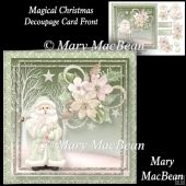 Magical Christmas Decoupage Card Front Tri Fold Cards, Slider Cards, Folded Cards, Stepper Cards, Wine Bottle Tags, Christmas Decoupage, Bead Embroidery Patterns, Shaped Cards, Tent Cards
