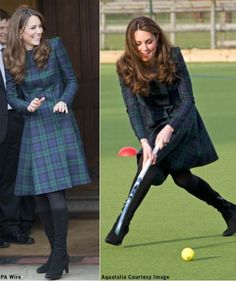 Duchess Kate. Alexander McQueen  McQ Black Watch coat.  Visit to her old prep school.  PA Wire / Aquatalia Courtesy Getty Images