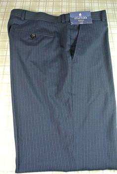NWT $120 Men's Stafford Navy Pinstripe -  Wool Flat Front Dress Pants Sz 44 X 32 #Stafford #DressFlatFront
