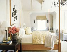 The master bedroom's cherrywood pencil-post bed and sober millwork pay homage to the Shakers.