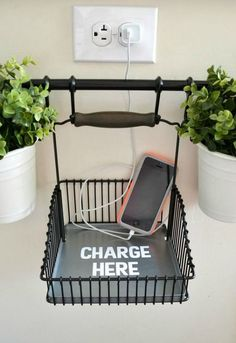 declutter kitchen countertops by creating a hanging charging station