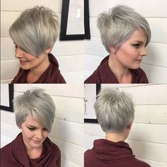 A-line Pixie Haircut - Ombre, Balayage Hairstyles for Short Fine Hair:
