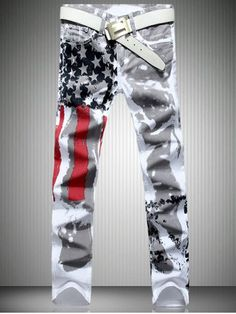 Buy Mens Fashion Jeans American flag stamp White Leisure Jeans Pomo Personality Slim Fit Trousers at Wish - Shopping Made Fun Jeans Denim, Denim Pants Mens, Ripped Jeans, Jeans Pants, White Jeans, Diy Jeans, Cargo Pants, Perfume 212 Men, Fashion Pants