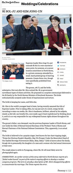The NY Times Wedding Announcement for Kim Jong Un