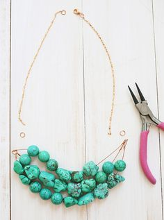 DIY Simple beaded necklace tutorial courtesy of A Beautiful Mess Blog