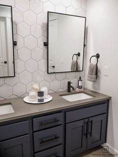 This double sink bathroom vanity was just a basic bathroom and now has it s own. This double sink bathroom vanity was just a basic bathroom and now has it s own This double sink Diy Bathroom, Bathroom Vanity Makeover, Bathroom Sink Vanity, Bathroom Makeover, Double Sink Bathroom Vanity, Bathroom Layout, Bathroom Renovations, Luxury Bathroom, Bathroom Design
