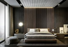 Wood bedroom - Sky park DeluxeApartment on Behance Master Bedroom Interior, Wood Bedroom, Master Bedroom Design, 3ds Max, Adobe Photoshop, Sweet Home Design, Round Beds, Suites, Contemporary Bedroom