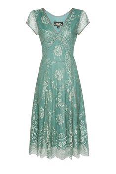Vintage Style Aqua Lace Special Occasion Dress by Nancy Mac, the perfect gift for Explore more unique gifts in our curated marketplace. Lace Summer Dresses, Short Sleeve Dresses, Lace Dresses, 40s Dress, Mother Of Bride Outfits, Vintage Fashion, 1940's Fashion, Vintage Clothing, Vintage Style