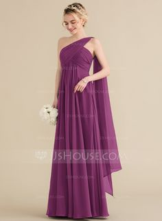 ee75c69aea86 A-Line/Princess One-Shoulder Floor-Length Chiffon Bridesmaid Dress With  Ruffle