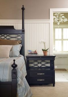 taller than normal bead board in bedroom--traditional bedroom by Howell Custom Building Group