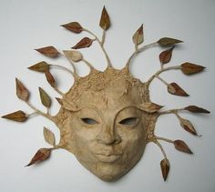 Tree-spirit by Martina Reis A simple physique slumbering their mind in between securely injure biceps Paper Mache Mask, Paper Mache Sculpture, Paper Mache Crafts, Paper Mache Tree, Mascara Papel Mache, Masks Art, Paperclay, Recycled Art, Halloween Masks