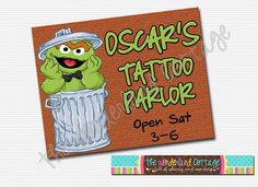 Oscar the Grouch Tattoo Sign by TheWonderlandCottage on Etsy, $8.00