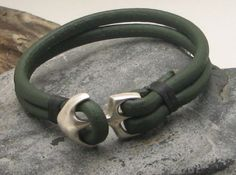 FREE SHIPPING Men's leather bracelet Green  leather by eliziatelye, $23.00