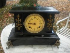 Clearance Sale Antique Mantel Clock Large Iron Clock Good For Part Or Repair