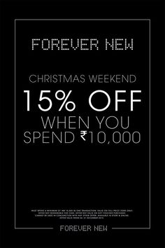 Enjoy Christmas Weekend with #ForeverNew at #ForumCourtyard offer. #MerryChristmas.