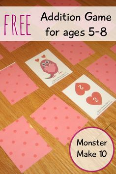 Free make 10 game - the monsters are wild cards. My kids can't wait to see who flips over the next monster!