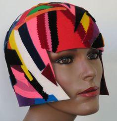 White Streak Collage Hat by Carol Markel