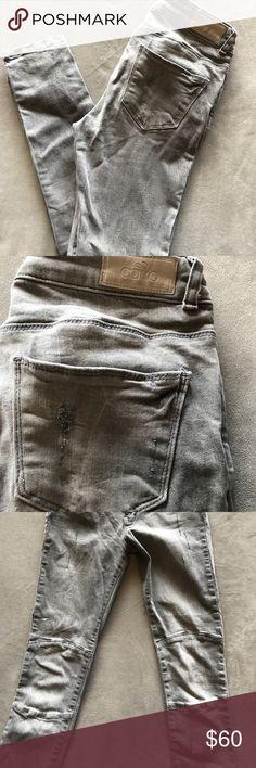Grey denim jeans from Copenhagen Aako jeans (brand from Copenhagen, Denmark boutique) skinny lightly distressed detail moto jeans. Worn once, size 27. Aako Jeans Skinny