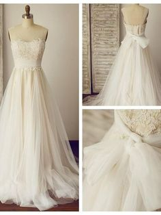 A-line Ivory Wedding Dresses With Sheer Straps on Luulla