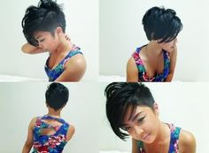Short hairstyle, angled bob with undercut