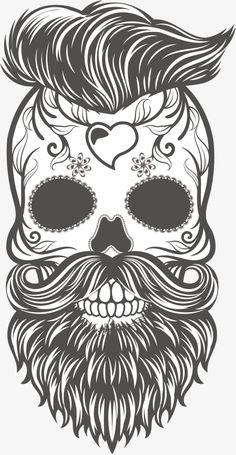 Calavera Skull Hipster Beard Sticker, hand painted black and white skull, sugar skull with beard and hair illustration PNG clipart Small Skull Tattoo, Ankle Tattoo Small, Ankle Tattoos, Tiny Tattoo, Feminine Skull Tattoos, Faith Tattoos, Arrow Tattoos, Ship Tattoos, Tattoo Sketches