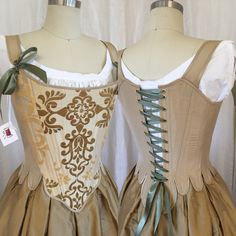 18th Century Corset in Gold Silk Brocade, size medium, steel boned historical corset stay for Georgian, Marie Antoinette, French Revolution