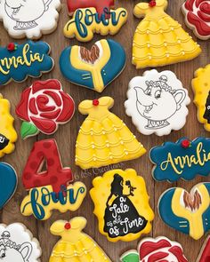Beauty and the Beast Party -an amazing Beauty and the Beast themed birthday part. - Beauty and The Beast Beauty And Beast Birthday, Beauty And The Beast Theme, Beauty And The Best, Disney Beauty And The Beast, Cookies Princesse, Princess Cookies, Sweet 16, Disney Cookies, Fourth Birthday