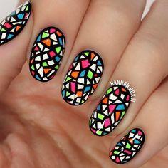 Multicolored Nail Art Heart Nail Designs, Simple Nail Designs, Nail Art Designs, Fingernail Designs, Nails Design, Geometric Nail Art, Floral Nail Art, Fall Nail Art, Nail Art Diy