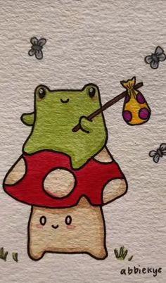 Indie Drawings, Art Drawings Sketches Simple, Doodle Drawings, Easy Drawings, Doodle Art, Arte Indie, Indie Art, Frog Drawing, Cute Little Drawings