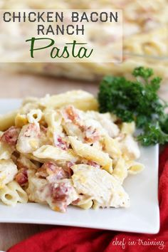 Chicken Bacon Ranch Pasta! Super easy to make and ridiculously delicious! It is a family favorite!