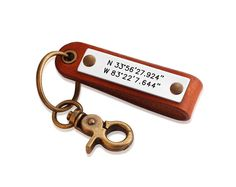 Personalized Leather Coordinates Key Chain  Mens by diyjewerly