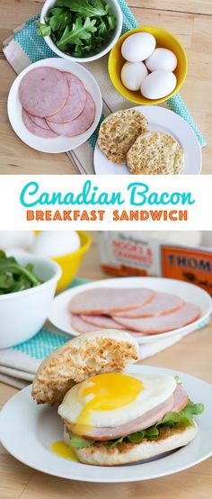 Canadian Bacon Breakfast Sandwich: Why limit your enjoyment of Canadian bacon to the occasional Eggs Benedict? This simple yet satisfying sandwich is an easy way to enjoy the humble breakfast meat any day of the week. Just toast a Thomas' English Muffin and top with a little arugula, Canadian bacon (of course!) and a fried egg.