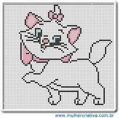 Marie from Aristocats Disney Cross Stitch Patterns, Cross Stitch For Kids, Cross Stitch Charts, Cross Stitch Designs, Elephant Cross Stitch, Cross Stitch Animals, Disney Stitch, Pixel Pattern, Cat Pattern