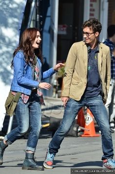 Lily Collins: 'Mortal Instruments' Laughs with Robert Sheehan: Photo Lily Collins gets the giggles on the Mortal Instruments: City of Bones set in Toronto, Canada on Tuesday afternoon (August The leading lady was… Mortal Instruments Movie, Immortal Instruments, Simon And Clary, To The Bone Movie, Simon Lewis, Cassie Clare, Cassandra Clare Books, Robert Sheehan, Actor Studio