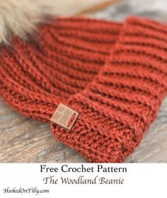 Make the woodland beanie. free crochet pattern – free crochet hat pattern – wint… Make the woodland beanie. free crochet pattern – free crochet hat pattern – winter hat pattern -women's hat pattern pattern Pin: 474 x 563 Ribbed Crochet, Crochet Adult Hat, Bonnet Crochet, Crochet Winter Hats, Easy Crochet, Chunky Crochet Hat, Boy Crochet Hats, Crochet Hat For Women, Crochet Fall