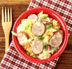 Crockpot Sausage and Potatoes Recipe! {Slow Cooker Casserole} Easy Goulash Recipes, Fall Crockpot Recipes, Crockpot Dishes, Easy Casserole Recipes, Crock Pot Cooking, Slow Cooker Recipes, Cooking Recipes, Easy Recipes, Healthy Recipes