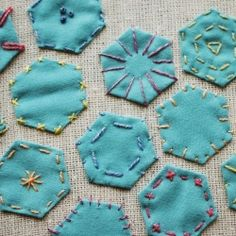 Create hooped fiber art using hexagons and simple stitches!