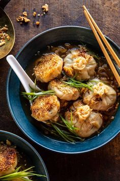 Sesame Chicken Dumplings in Spicy Broth with Garlic Crisps - Half Baked Harvest Good Food, Yummy Food, Delicious Meals, Tasty, Home Meals, Asian Recipes, Ethnic Recipes, Sesame Chicken, Half Baked Harvest
