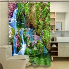 Durable Picturesque Scenery 3D Bathroom Shower Curtain Cool Shower Curtains, Cheap Curtains, Curtains For Sale, Custom Shower Curtains, Water Printing, 3d Photo, Aquarium, Scenery, Home And Garden