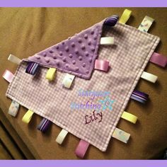"""Personalized Taggie Blanket: """"Lily"""" ~Size: approx. 12"""" x 12""""  ~Fabric: Cotton (front), Minky (back)"""